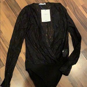 Zara lace black longsleve bodysuit